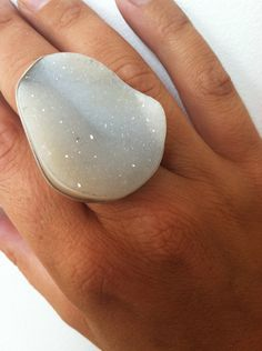 Holy Moly  White Druzy and Sterling Silver. $185.00, via Etsy.