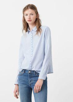 Camisa algodón rayas   MANGO