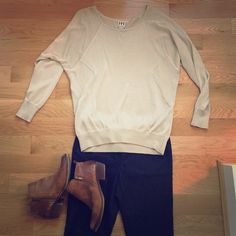 Haute Hippie gold sweater Long sleeves, loose fit and fabric is lighter than it looks, more of a spring sweater. Small thread pulled on front as shown. Fit is more large than medium. Slightly shear, good to layer with a tank. Haute Hippie Sweaters Crew & Scoop Necks