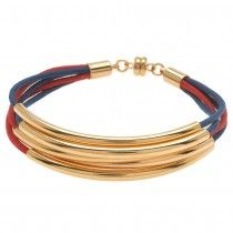Noodle Bead Bracelet in Red and Blue