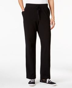 Karen Scott Petite Drawstring Active Pants, Only at Macy's - Black P/XS-S