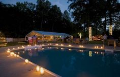 pool side decor/great idea for a night time party.maybe my birthday or Dani's sixteenth this summer.