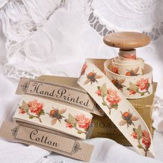 Vintage Bee & Flower Hand Printed Cotton Fabric Ribbon - cotton tape / cotton twill by Janie Jones