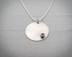Blue Topaz Silver textured disc necklace  by hollybluejewelry, $65.00
