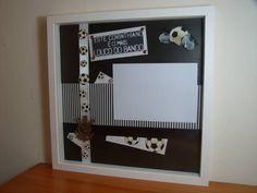 Quadro Scrapbook com Moldura Laqueada com Vidro!! Personalize a decoração do quarto do seu filho!  Tema: FUTEBOL (todos os times) R$ 90,00