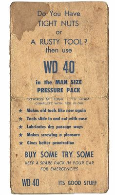 Do You Have TIGHT NUTS or A RUSTY TOOL? Hilarious WD 40 Vintage Advert smith.gl/1q0WVjd
