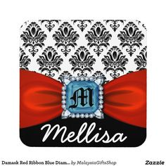 Damask Red Ribbon Blue Diamond Monogram And Name Drink Coaster