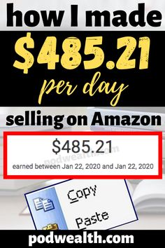 Looking for a way on how to make money selling on Amazon? I'm sharing my results how I've made $485.21 per day and how I did that! You can copy and paste my method to earn passive income!