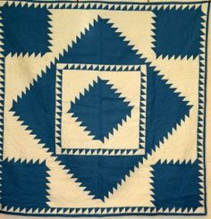 "Delectible Mountains circa 1940; hand-quilted sawtooth diamond pattern in cottons with feather on diamond patterns, 80""x 78"""