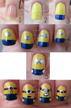 Despicable Me Nails. Ain't nobody got time for that... But they are cute! I did them. Didn't take to long. But could only do them on my left hand. XD