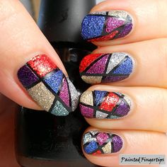 Painted Fingertips | Tape and texture for geometric nails - day 16 of the #31DC2014