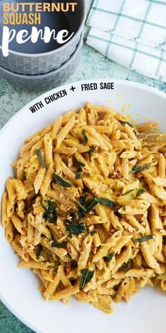 Butternut Squash Penne with Chicken and Fried Sage is the New Comfort Food. This comforting dish is cheesy, seasonal, healthy, and perfect for the fall.