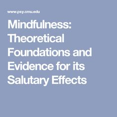Mindfulness: Theoretical Foundations and Evidence for its Salutary Effects