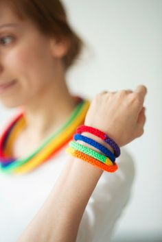 Knitted necklace bracelet knit jewellery rainbow by Strickzeit, €8.00