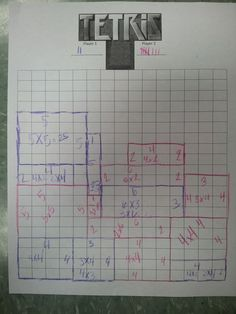 Tetris using Arrays! Students roll double dice and those are the dimensions. After they create the array they have to write the multiplication problem with the total number. To add more difficulty they have to label if the number is a prime, square, or composite! If they fill in the line on the tetris board they get a point!
