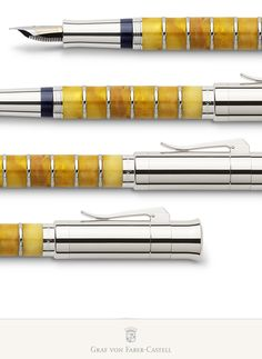Graf Von Faber Castell - Immediately striking at this fountain pen are the amber rings of the barrel that present a first-class handicraft and technical challenge. Who else than the Amber Room's restorers could better master this challenge! It was the master craftsman and head of the workshop, Boris Igdalov, who personally took care of the creation of this fountain pen.