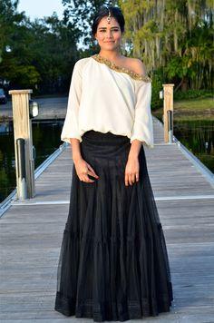 длинная черная юбка с воланами
