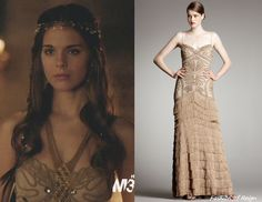 In the fifteenth episode Kenna wears this sold out Robert Rodriguez Black Label Isabella Gown in Camel. Worn with Cecile Boccara headpiece and Vanessa Mooney cuff.