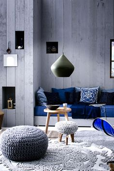 Modern Moroccan with great blue, gey color scheme.