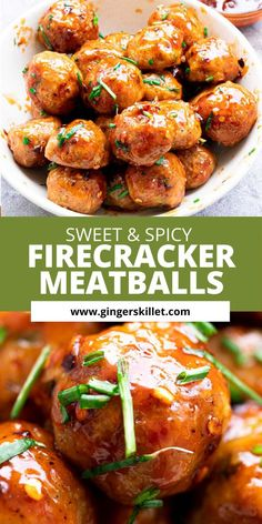 Spicy Chicken Meatballs aka Firecracker meatballs recipe with step-by-step instructions. These spicy and sweet twice-baked chicken meatballs are super easy to make and tastes delicious as an appetizer or in a meal! Baked Chicken Meatballs, Spicy Meatballs, Chicken Meatball Recipes, High Protein Recipes, Healthy Recipes, Free Recipes, Appetizer Recipes, Dinner Recipes, Appetizers