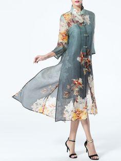Floral-print Silk Coat