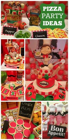 A pizza themed birthday party with cookie pizza decorating and an amazing cake!  See more party planning ideas at CatchMyParty.com!