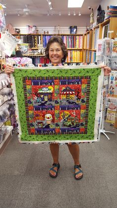 """Cathy Rodgers made this quilt from Anita Goodesign's """"Haunted Village"""" for her sister's October birthday! (Her sister happens to really love Halloween, so this is perfect! Machine Embroidery Quilts, Machine Embroidery Projects, Embroidery Supplies, Anita Goodesign, October Birthday, Embroidered Quilts, Halloween Quilts, Fall Quilts, Missouri Star Quilt"""