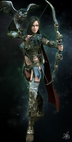Sparrowsong. Elven Ranger.  Chaotic Good.  Expert archer.  Member of the Wolf Pack