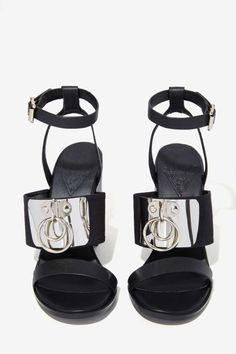 SHOE-PHORIA | heels | stiletto | sandals | black | silver metal | sexy | edgy | cool |