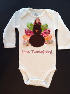 Pink Personalized Girl Thanksgiving Outfits - Infant or Toddler  - First Thanksgiving - Ribbon Turkey