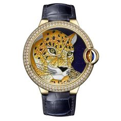 Ballon Bleu de Cartier Calibre 049 watch, which has been hand-crafted using enamel graduation to create the panther's textured coat.