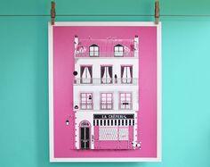Parisian architectural illustration: hand pulled screen print. £50.00, via Etsy.