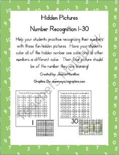Hidden Pictures for Number Recognition 1-30 from Hanging Out in First! on TeachersNotebook.com (36 pages)  - Hidden Pictures for Number Recognition 1-30