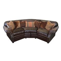 Old World Tuscan Style Leather Sectional Sofa SHOP www.crownjewel.design