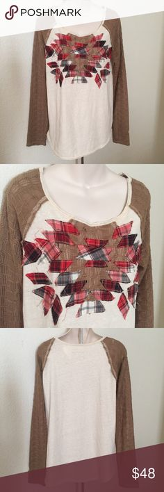New Free People oversized Raglan Plaid Shirt Large This is a new without tags Free People oversized Plaid shirt. It has knit fabric sleeves and a cotton fabric front. The front has cut out Flannel Plaid Stitched in a leaf like pattern. Size large. Free People Tops Tees - Long Sleeve