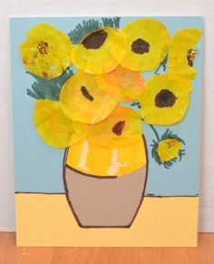 Van Gogh Coffee Filter Sunflowers - Fun Family Crafts (use muffin cups for flowers!)