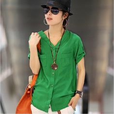 2012 New Quality Good Women Fashion Cotton Short Sleeve V Neck Green T-shirt Ladies OL Tops Blouse M L