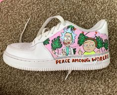 Painted rick and morty on my shoes today! Source by rattiemama shoes ideas Nike Air Shoes, Vans Shoes, White Nike Shoes, Custom Painted Shoes, Custom Shoes, Cartoon Shoes, Aesthetic Shoes, Hype Shoes, Fresh Shoes