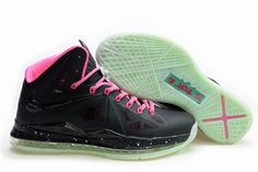 Lebron James 10 Luminous Black-Pink Nike Womens Size Athletic Sneakers