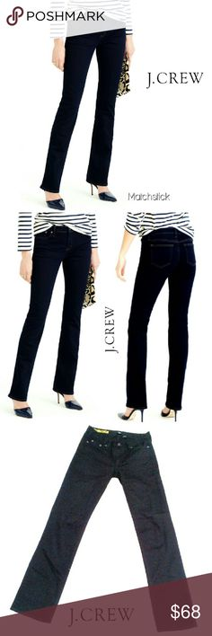 """??NWOT?? J. CREW BLACK STRETCH MATCHSTICK JEANS ??NWOT?? ?EW J. CREW BLACK MATCHSTICK STRAIGHT JEANS RN# 77388 CA# 56445 / Image for Similarity  28R These are Great for Any Occassion.,,Dressy or Casual. Lots of Stretch!    *   98% Cotton    *   2% Spandex    *   Standard 5 Pockets Approx Meas;    *   Inseam   32""""    *   Waist   15.5""""    *   Rise   7 1/2""""    *   Leg Opening   7 1/2"""" Please See All Pics. Ask ? If Not Sure J. Crew Jeans Straight Leg"""