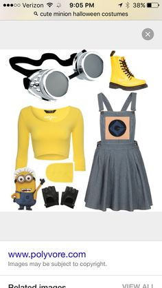 Cute minion Halloween costume! Minion Halloween Costumes, Cute Minions, Image, Fashion, Moda, Fashion Styles, Fashion Illustrations, Fashion Models