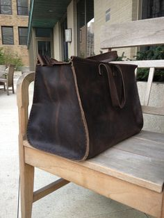 large leather handmade overnighter