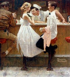 Norman Rockwell After the Prom oil painting for sale; Select your favorite Norman Rockwell After the Prom painting on canvas or frame at discount price. Art And Illustration, Illustrations, Norman Rockwell Prints, Norman Rockwell Paintings, Peintures Norman Rockwell, Retro, Saturday Evening Post, Mail Art, American Artists