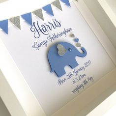 New baby frame ~ new baby gift ~ personalised baby gift ~ elephant frame ~ christening gift ~ nursery art ~ baby boy gift ~ nursery decor This beautiful elephant nursery art frame is the perfect gift for a new baby boy! It is personalised and features a b Christening Frames, Baby Christening Gifts, Christening Cards For Boys, Baby Boy Art, Baby Boy Gifts, Elephant Nursery, Nursery Art, Nursery Decor, Nursery Ideas