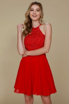Solid color Wholesale Cocktail dress with Halter neckline f6b7b631b