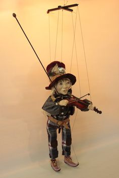 marionette Dwarf Fiddler marioneta puppet OOAK artdoll títere