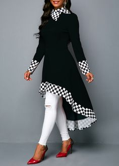 adc2450646e2 High Low Checkered Print Long Sleeve Black Sweatshirt