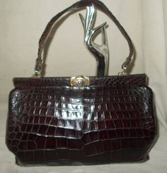 5b7a2efb7f51 Beautiful large vintage 1930 s Art deco Fassbender brown crocodile skin  handbag by VintageHandbagDreams on Etsy Crocodile