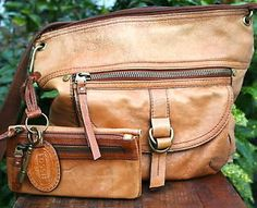 FOSSIL TAN BROWN LEATHER Handbag & Wallet Messenger Cross Body Purse in Clothing, Shoes & Accessories, Women's Handbags & Bags, Handbags & Purses | eBay