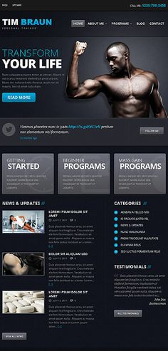 """A personal trainer's website look. It's """"sleek"""" but I don't think it fits your approach. What do you think? Anytime Fitness Gym, Personal Trainer Website, Medical Sites, Fitness Websites, Gyms Near Me, Sports Website, Website Design Layout, Planet Fitness Workout, Athletic Training"""